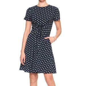 NWT 🎀 Banana Republic Navy & White Dot Dress - 4